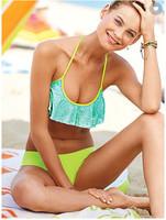 Waves Ruffle style FLOUNCE HALTER TOP & CHEEKY HIPKINI BOTTOM Bikini  set Swimwear & Swimsuit Beach  Bikini Dress sexy beachwear