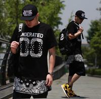 On sale Underated street dress t-shirt cashew flowers ultra long zipper short-sleeve pyrex hba  hip-hop shirts streetwear Tees