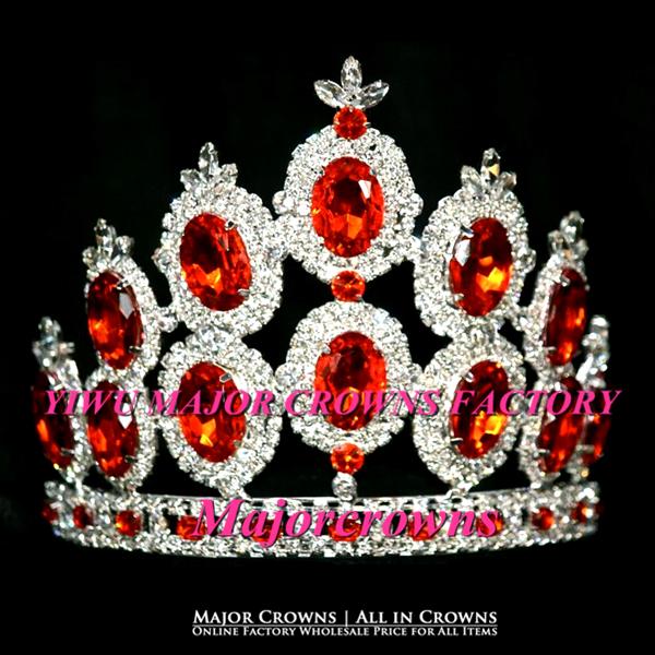 Silver Popular Crown Tiara Cheap Wholesale Hair Jewelry Accessories AL030 Orange(China (Mainland))