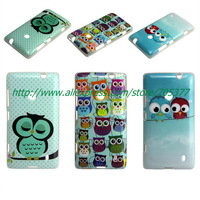 Free Screen Protector +Cartoon Cute shy Owl Bird soft tpu case  for  Nokia Lumia 520 N520  1pcs/lot free shipping