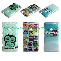 Free Screen Protector +Cartoon Cute shy Owl Bird soft tpu case  for  Nokia Lumia 520 N520  1pcs/lot free shipping