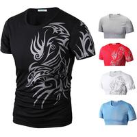 Brand New 2014 Dragon Print Casual Slim Men's Short Sleeve Round Collar T Shirt Tees pullover M L XL XXL,Wholesale R1404
