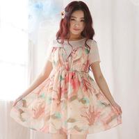 New Spring Dress Splicing Chiffon Dress High Waist Round Collar Of Cultivate One's Morality Princess Dress W23087