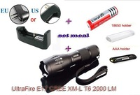 E17 Flashlight Torch Zoomable CREE XM-L T6 2000Lumens Zoomable LED Flashlight Torch light +1*18650 battery +Charger