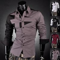 2014NEW Men's Fashion Cotton Designer Cross Line Slim Fit Dress Man Shirts Tops Western Casual Slim Shirts 4 Colors M~XXXL