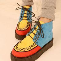 new 2014 Harajuku plus velvet flat platform women boots mixed color block patchwork vintage punk gothic creepers shoes