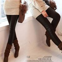 New 2014 Fashion Slim Leather Splice Women's Leggings Summer Spring Trousers Stretch Female High Waist Pants Slacks Clothing