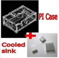 Free shipping Transparent Pi Box case shell for Raspberry Pi +pure aluminum heat sink set kit + 3pcs heat sink