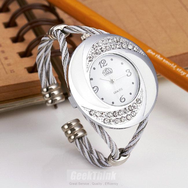Rhinestone Whirlwind Design Metal Weave Clock female Dress Women Girls Bracelet Bangle Watch Wristwatch Siver Relogio feminino(China (Mainland))