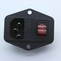5PCS IEC320 C14 Power Cord Inlet Socket 250V/10A with Fuse Holder Rocker Switch