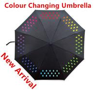 New Arrival Folding Sun Umbrella Raindrops Colour Change Umbrella Magic Cute Umbrellas Rain Novelty Households Free Shipping