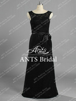 Designer Long Sleeveless Black Lace Evening Dress 2014 Mermaid BD766