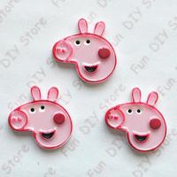 kawaii resin Peppa Pig Party ,Resin Cabochon Flatbacks Scrapbooking free shipping 50pcs/lot 26*27mm