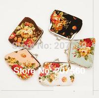 Free shipping!Big roses cloth zero wallet;Women coin purse, wallet, metal buckle gold bag (7.5 * 9 cm)