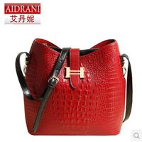 2014 cowhide bucket bag messenger bag handbag crocodile pattern women's vintage bag