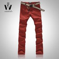 2014 Spring Men'S Jeans Male Slim Skinny Pants Metal Buckle Decoration Elastic Trousers XG-057