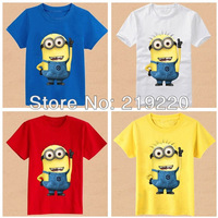 Despicable me minions children kids boys short sleeve t shirt Summer minions white blue colors children's t shirt Free shipping