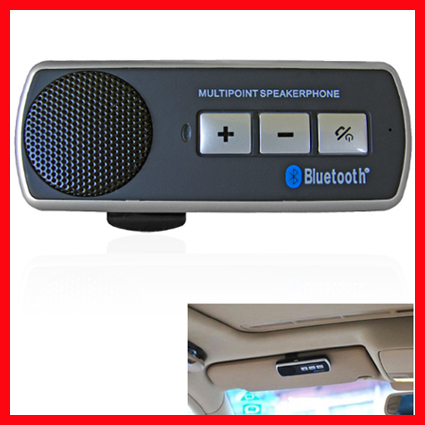 Free Shiping Wireless Bluetooth Handsfree Handset Speaker Car Kit For Mobile Phone iPhone New(China (Mainland))