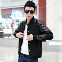 2014Spring Autumn Plus Size M-4xl 5xl (chest130cm) Men's Clothing Woolen PU Leather Overcoat Man Jacket Casual Coat xxxxl xxxxxl