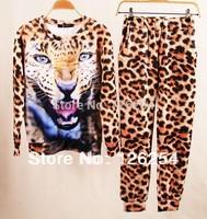 2014new!Leopard tiger/skull Women Sport Suit  womens Clothing Set 3D Print Hoodie Sportswear Track Suit Sweatshirt Free Shipping