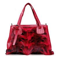 2014 fox fur genuine leather first layer of cowhide women's handbag fur bag luxury fashion women's handbag