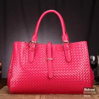 2014 fashion bag genuine leather women's handbag the trend of fashion knitted portable women's one shoulder handbag