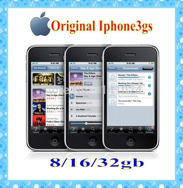 100% Original Unlocked Apple Iphone3GS Mobile phone 8GB 16GB 32GB Wi-Fi GPS 3.0MP ios Free shipping In sealed box(China (Mainland))