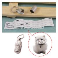 (200pcs/lot) pet dog id tube  / pet id barrel, Silver color,free shipping