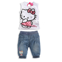 2014 Baby girls summer sets 100% cotton Hello Kitty Girl's clothing sets denim sets kitty t shirt +denim short FREE SHIPPING