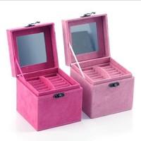 Fashion rabbit hair wool three layer Vintage Style jewelry box  /storage box  Cases princess jewelry box 12*12*12CM  072620