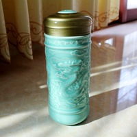 Ceramic/PorcealinThermos with beautiful dragon sculpture.Thermos.Office Cup/Gift Cup/Children's Cup.Tea/water/juice cup.B2