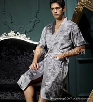 Free shipping!! mens  robe  bath gown silk bath robe mens silk kimono bathrobe men bathrobes