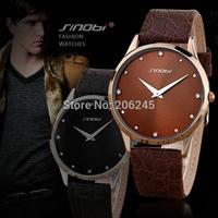 2014 New SINOBI Brand Leather Strap Watch for Man Fashion Style Men Quartz Watches Waterproof Military Wristwatch MN4623