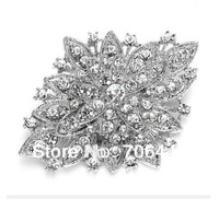 Dark Silver Plated Clear Rhinestone Crystal Diamante Large Flower Vintage Bouquet Brooch