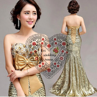 Cii Golden Diamond Bra Slim waist lace  fishtail trailing latest Spring 2014 evening diner dress elegant toast dress