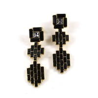 Free shipping 2014 Fashion accessories fashion exquisite black gem patchwork long earrings,female earrings,jewelry