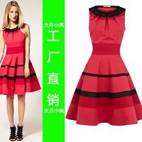 Women Fashion 2014 Color Block Stripe Bandage Bodycon Dress Slim Sheds Expansion Bottom dl201 One-piece Summer Dresses