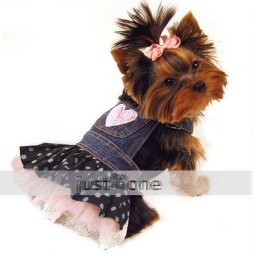 Pet DOG APPAREL Clothes Costume Dress Denim Tutu Skirt XS, S M L XL For wedding(China (Mainland))