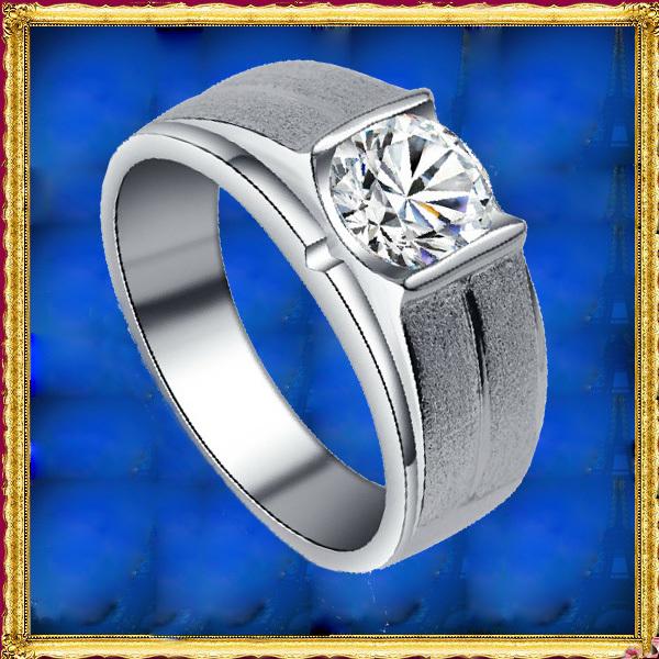 Mens Jewelry Solid 925 Sterling Silver Synthetic Diamond 1.0Carat Wedding Band Guard Matching Men Diamond Ring(China (Mainland))