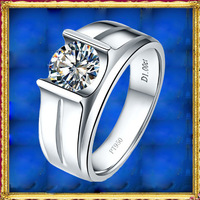 Mens Jewelry 1.0Carat Simulated Diamond Ring Solid 925 Sterling Silver Bands For Wedding