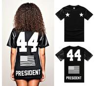New arrive fashion Black boy 44 flag leather digital T-shirt mens short-sleeve round neck tee pu sleeve tshirts