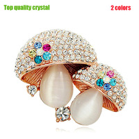 Quality Fashion Opal Brooches Cute Mushroom Brooch Pins 18K Rose Gold Crystal Rhinestone Brooch Women Bouquet