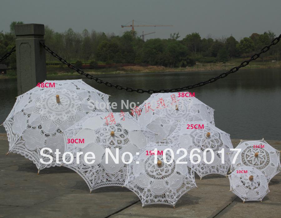 Opcional tamanho Lace branco Parasol Umbrella para nupcial decoração do casamento 10 cm grátis frete(China (Mainland))