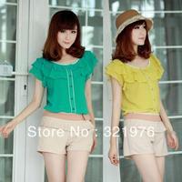 CC907# 2014 New Fashion Women Spring And Summer Blouses Flounced Chiffon Shirt