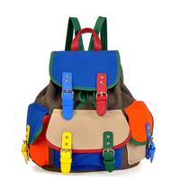 New 2014 Canvas backpack for girls casual women school bag candy color block shoulder bag schoolbag fashion