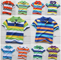 100% cotton child t-shirt children's clothing kids summer boys 2014 male children t shirt rainbow stripe design