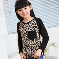 2014 spring autmn fall children clothing kids child girls boys print leopard cotton long sleeve girl t shirt shirt 6-14