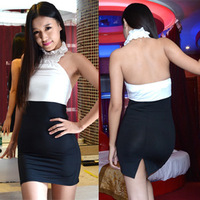 Slim sexy backless halter party dress folds after the split skirt evening party nightclub ladies temperament