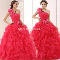 Free Shipping 2014 costume puff design long design one shoulder wedding dress lace up wedding dress