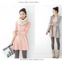 New 2014 Winter Dress cotton full-sleeve slim girl dress women hight waist Casual Dress Bottom dress plus size